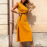 Straight High Slit Shoulder Pads Maxi Dress