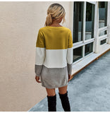 Striped Patchwork Slim Knitted  Sweater Dress