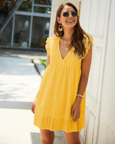Lace Embroidery Cotton Summer Mini Dress