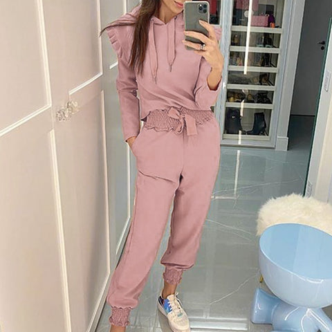 Ruffle Sleeve Hooded Collar Jumpsuit