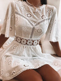 Elegant White Floral Embroidery Cotton Dress