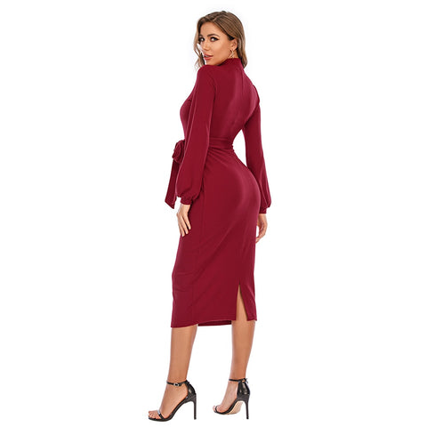 Elegant Ladies Long Sleeve Bodycon Dress