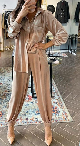 Two-Piece Velvet Blouse Soft Trousers Set