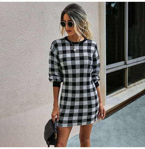 Plaid Knit Sweater Dress