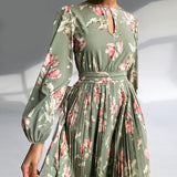 Elegant Floral Round Neck Middle Waist Winter Dress