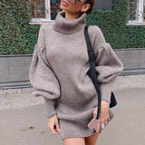 High Neck Knitted Loose Lantern Sleeve Dress