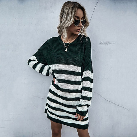 Striped Long Sleeve Knitted Sweater Dress