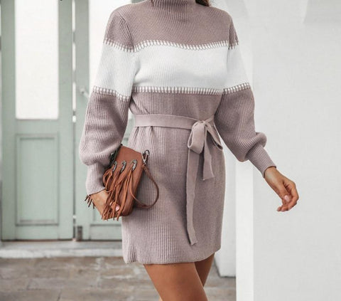 Stripe Knitted Cosy High Neck Flared Sleeve Dress