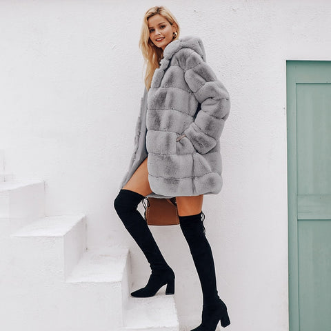 Wide-waisted Faux Fur Jacket
