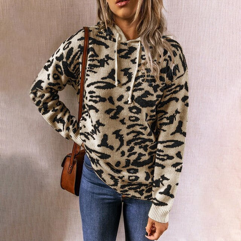 Sweater Autumn Winter Jumper Leopard Print Drawstring Knitted Pullover Hooded Knitwear Tops Fall Clothes For Women 2020 Fashion