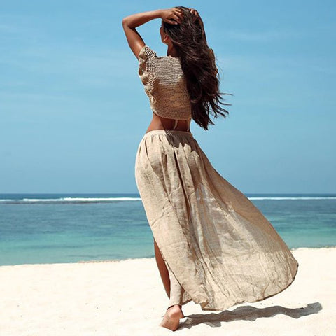 See Through Cotton White Sarong Skirt