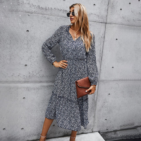 Floral Print Ruched Long Dress