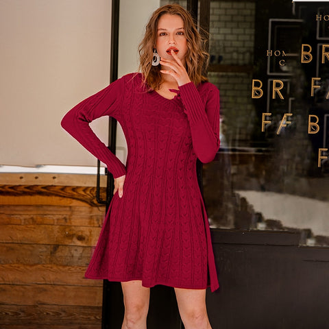 A Line V Neck Knit  Sweater Dress