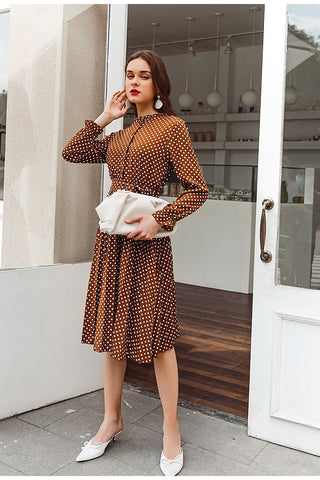 Brown Pleated Winter Long Sleeve Blazer Dress