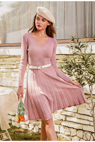 Elegant Slim A-line Sweater Midi Dress