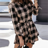Plaid A-line Mid Waist Lace Up Dress