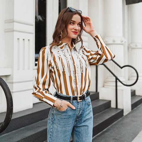 Casual Stripe Turn Down Collar Top