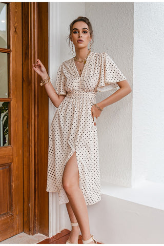 Chic Polka Dot Button A-line Bell Sleeve Maxi Dress