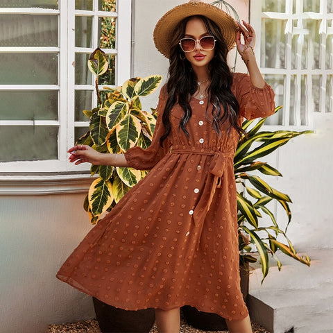 Brown Vintage Ladies Button Sashes Long Dress