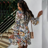 Floral Print Ruffle Retro Dress