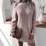 Ribbed Knitted Loose Cold Shoulder Sweater Dress
