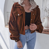 Corduroy Button Up Cropped Short Jacket