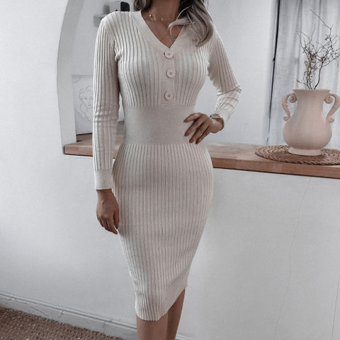 Office Ladies V Neck Buttons Knitted Dress
