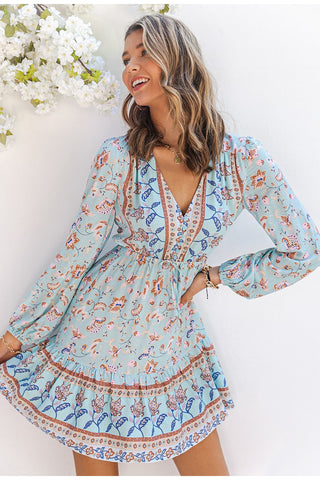 Boho Floral Print A-line Ethnic Long Puff Sleeves V-Neck Dress