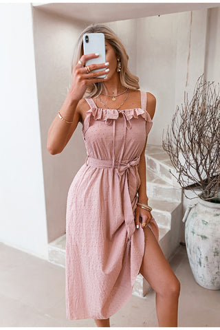 Pink Spaghetti Strap Midi Casual Dress