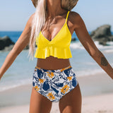 High Waist Flower Printed Push Up Bikini