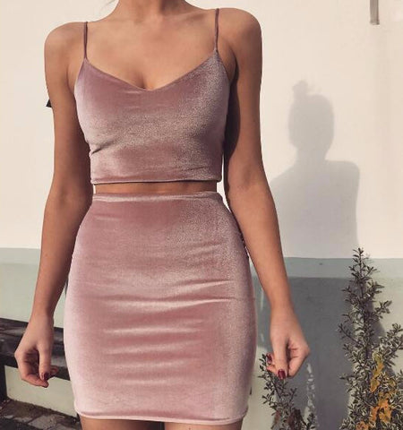 Velvet Two-Piece Party Dress