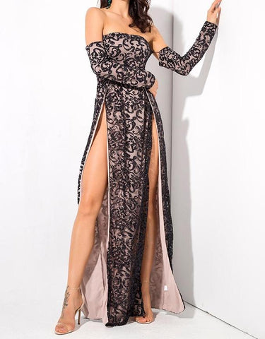 Vanderlily Long-Sleeved Black Lace Detailed Maxi Gown