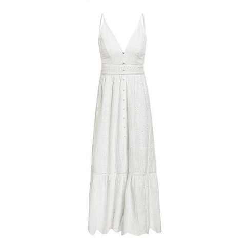 Bella Marie Lace White Maxi Dress