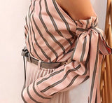 Striped Chiffon One Shoulder Blouse