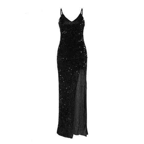 Sheena High-Slit Sequin Dress