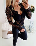 Melissa Sheer Eyelash Lace Long Sleeve Bodysuit