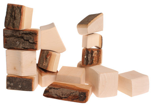 Grimm's - stacking blocks natural with bark - large - 15 pieces