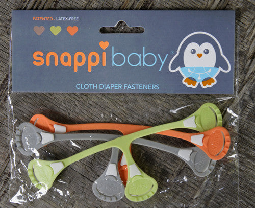 SnappiBaby Cloth Diaper Fasteners :: Baltic Grey, Bamboo Green, Coral Orange