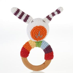 Pebble - Animal Friends Wooden Teething Ring Rattle