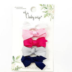 Prep Girl 5 pk Bow Snap Clips by Baby Wisp