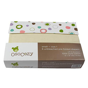 "OsoCozy Cotton Prefold - small (12""x6"") - 6 pack"