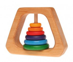 Grimm's - Rattle Pyramid with 6 Multi-Coloured Discs