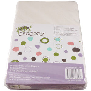 OsoCozy Bamboo Cotton Flat Cloth Diapers – 6 Pack