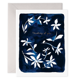 Indigo Flowers Thinking of You - E. Frances Paper greeting card