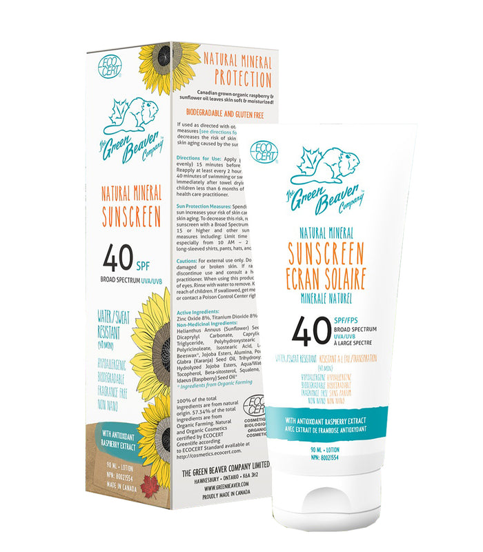 Green Beaver Natural Mineral Organic Sunscreen - SPF 40 - 90ml