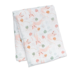 Kitty Lulujo Muslin Swaddles Blanket (Cotton)