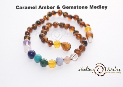Baltic Amber Necklace with Gemstones - 20 inch (adult)