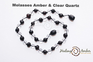 Molasses Amber & Clear Quartz necklace (13 inches)