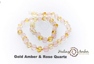 Gold Amber & Rose Quartz necklace (11 inches)