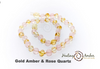 Baltic Amber Necklace with Gemstones - 13 inches